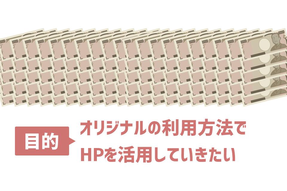目的:オリジナルの利用方法でHPを活用していきたい